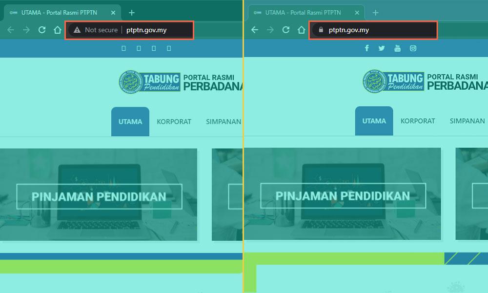 PTPTN mempunyai laman web HTTPS dan HTTP. Namun isu itu telah ditangani.